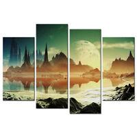Landscape Wall Art Alien City Ruins beside the Lake Canvas Print Home Decor 4Pcs