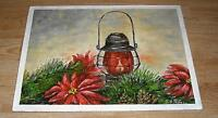 VINTAGE CHRISTMAS RED POINSETTIA GARDEN FLOWER PINE CONES KEROSENE LAMP PAINTING