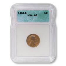 USA Lincoln Wheat Cent 1c 1931 S ICG G6 Good Key Date Penny