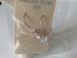 STUNNING STERLING SILVER CLR CZ HOOK WIRED DROP EARINGS