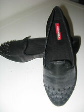 Union Bay women's black satin flat shoes w/ metal spikes rivets 7.5