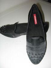 Union Bay women's black satin flat shoes w/ metal spikes rivets 7.5