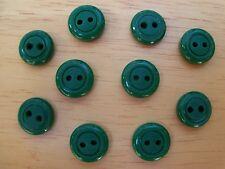 10 GREEN VINTAGE CIRCLE DESIGN CASEIN SCHWANDA Buttons NOS SEWING CRAFT 11mmx4mm