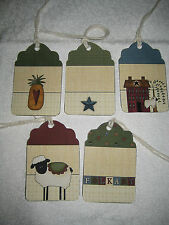 Primitive Set 10 Folk Art Hang Tags (Pfa-1)