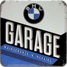 BMW Garage Blech Untersetzer 9 x 9 cm Metall Tin Sign USE45