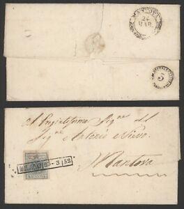 Austria Lombardo-Venetia 1852 - Cover Milano to Mantova L211