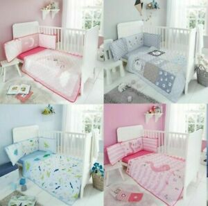 Luxury Nursery Baby 3 Pieces Cot Bed Bedding Set Coverlet Bumper Fitted Sheet