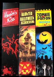 3x15g Incense Sticks Mixed Samples ZOMBIE POISON HAUNTED HALLOWEEN VAMPIRES KISS