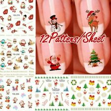 12Patterns/Sheet Hot Christmas 3D Nail Art Stickers Nail Decal AU
