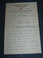 Document Croix-Rouge Française Secours aux blessés Militaires 1927