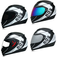 DOT Motorcycle Helmet Full Face w/Sun Visor Motocross Racing Cruiser Street Bike
