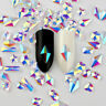 Glitter Flat Back Crystal Rhinestone Gems Nail Art AB Elongated Stone Decoration