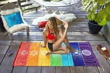 Single Rainbow Chakra Tapestry Towel Mandala Hippie Boho Stripes Yoga Mat Boho