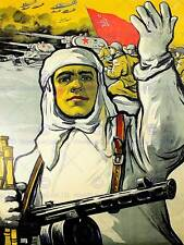PROPAGANDA PAINTING SOVIET UNION RED ARMY ADVANCE WAR WWII USSR POSTER CC6777