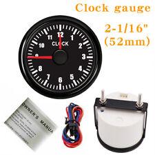 "52MM 2-1/16"" Black Clock gauge 12Hours Red LED Waterproof For Cars Trucks Marine"