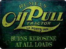 "RUMLEY OIL PULL TRACTOR FACTORY REPRESENTATIVE 9/"" x 12/"" ALUMINUM Sign"
