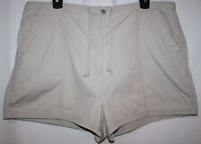 New York & Co Khakis Misses XL 16 Shorts Tan Zipper Pocket Drawstring Tie Front
