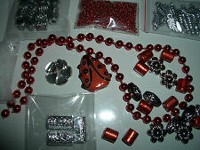 lampwork lady bug bead kit vintage &new loose jewelry lot glass seed plastic bk1