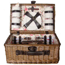 4 person Picnic Basket Set for 4, Wicker Picnic Basket for 4 Persons, Picnic Set
