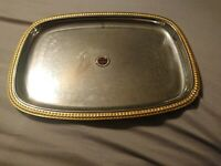 """Zahran 18/10 stainless steel Serving Tray rectangle 14"""" x 10.5"""" guarantee 10 yrs"""