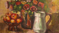 EUROPEAN ART VINTAGE OIL PAINTING STILL LIFE WITH FRUITS AND FLOWERS