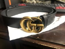 Gucci Gg Leather Belt Women's Black 34-85cm