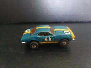 Vintage Aurora Thunderjet 500 HO Scale Slot Car Chevy Camaro #1 Blue Orange