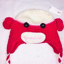 Baby Girls Hat Monkey Braided Handmade Crocheted 6-12 Months Pink White New