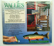 New ListingWallies Wallpaper Cutouts 25 Trout Pre-Pasted, Rustic Cabin Gone Fishing Theme