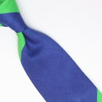 John G Hardy Mens Silk Necktie Large Scale Regimental Stripe Blue Green Pink