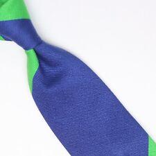 John G Hardy Mens Silk Necktie Large Scale Regimental Stripe Blue Green Pink