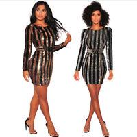 Fashion Women Long Sleeve Striped Pailette Bodycon Cocktail Party Mini Dress