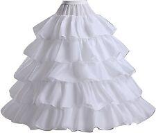 Wantdo Full Hoop 4 Bones Bridal Crinoline Petticoat Skirt Slip Ruffles White