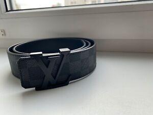Louis Vuitton Belt Initiales Damier Graphite M9808 BLACK