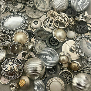 Premium MIXED LOT All Kinds Of SILVER & ANTIQUE SILVER Buttons All Sizes
