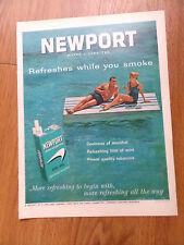 1963 Newport Cigarette Ad Couple Swimming Seaside Fun  Lot of 3 Ads