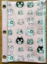 """American Studio Leenie Collectible Pink Pencil Pouch Case Kitty Cats 10"""" x 7 """""""