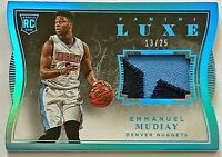 2015-16 Luxe Emmanuel Mudiay Patch RC # 13/25 Blue Parallel Die-Cut Nuggets Jazz