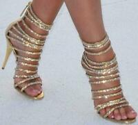 Womens  Shining Strappy High Heels Back Zipper Party Open Toe Sandals Shoes Sz