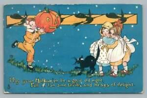 "Halloween Boy w Jack O Lantern ""Heaps of Delight"" Antique Tucks 197 Postcard '14"