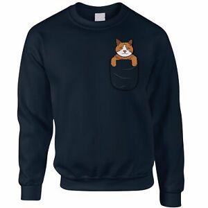 Funny Cute Cat Jumper Kitten in Pocket Novelty Pet Gift Idea Sweatshirt Sweater