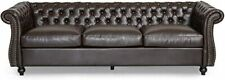 Tufted Chesterfield-Style Leather Sofa with Scroll Arms
