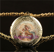 Mary and Baby Jesus Cabochon Glass Gold Plating Locket Pendant Necklace