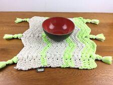 Surya Handmade Woven Cotton Table Mat Small Rug w Tassels Lime Green Khaki Nwt