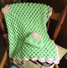 SWEET LITTLE FLOWER PHOTO PROP New Handmade Crochet Baby Blanket With Hat Set