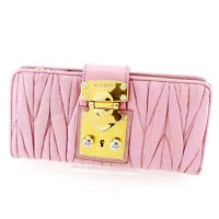 miumiu Wallet Purse Long Wallet Materasse Pink Gold Woman Authentic Used T2056