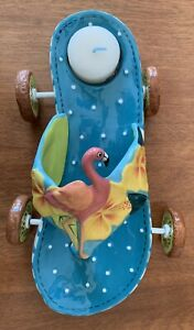 Diane's Happy Toes NWOB Flip Flop Flamingo Tea Light Candle Holder Hibiscus