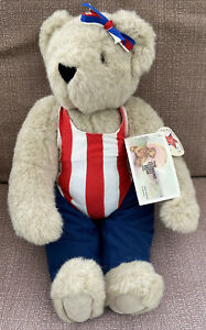 """1991 Vermont Teddy Bear Company 15"""" with Tags Red/White/Blue outfit and hair bow"""