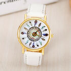 Women Girl Vintage Feather Dial Leather Band Quartz Analog Wrist Watches Elegant