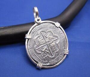 Sterling Silver Pirate Medallion Spanish 4 Reale Treasure Coin REPLICA Pendant